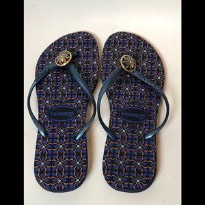 Havaianas Blue & Gold Flip Flop Sandals Sz 11